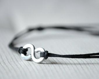 For Him Infinity Bracelet  - Aluminium wire and waxed cotton - Men and Unisex bracelet - Vegan friendly