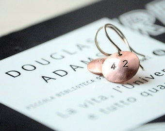 Earrings 42 Deep Thought  - Sterling silver findings and Copper domes