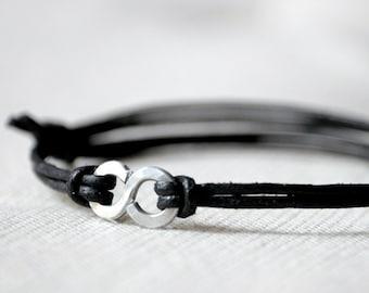For Him Infinity Bracelet - Black Leather and Aluminium - Men and Unisex bracelet - Made to Order