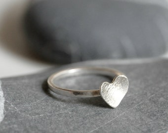 Sterling silver ring with a heart - ring with a heart - MADE TO ORDER