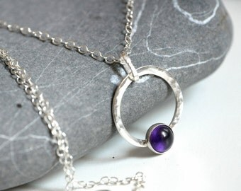 Amethyst Silver Necklace - Sterling Silver chain and pendant and amethyst cabochon