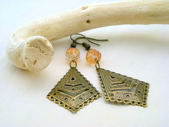 Honey Bronze Earrings -  Brass filigree and Czech Glass