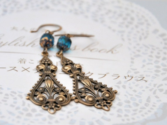 Earrings Antiqued brass and Czech glass - Blue Dream Earrings - ready to ship