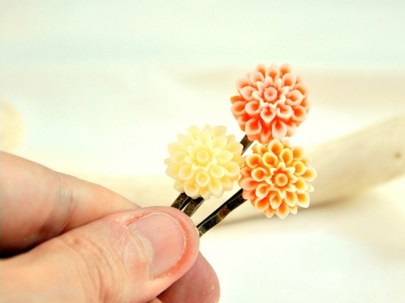 Orange Crush BobbyPins - 3 pcs - Lucite flowers and Antiqued Brass