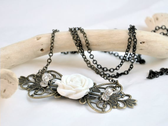 Romantic  Necklace - Antiqued Brass and Czech Glass
