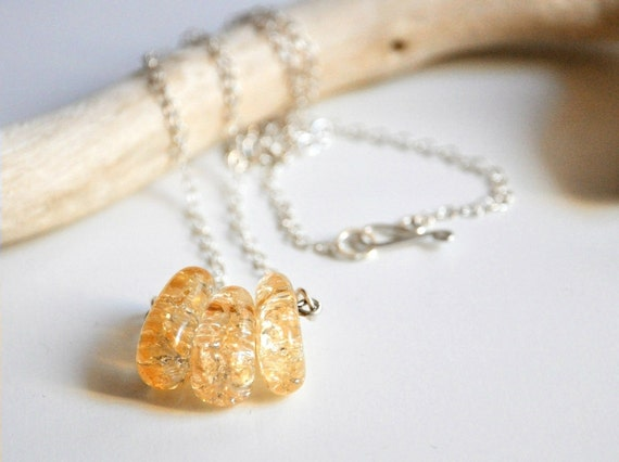 SALE - Silver Citrine Necklace - Sterling Silver and citrine beads - November stone