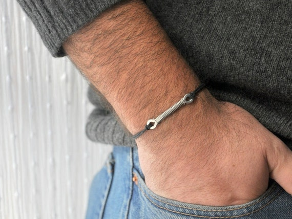For Him Bracelet  - Aluminium wire and waxed cotton - Men and Unisex bracelet