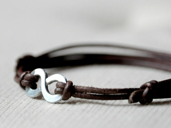 Infinity Bracelet, Brown leather and Aluminium, Men and Unisex bracelet, Anniversary and Valentine gift