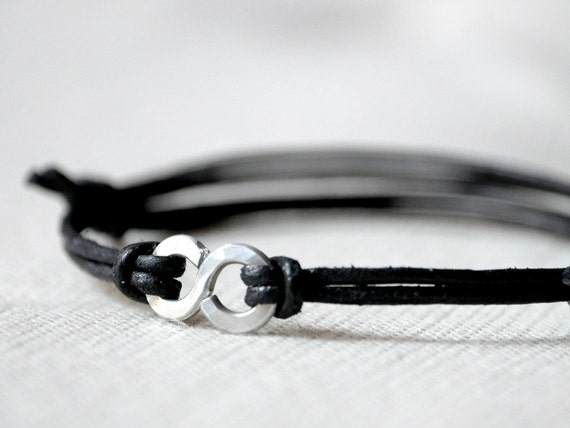 For Him Infinity Bracelet - Black Leather and Aluminium - Men and Unisex bracelet - Made to Order
