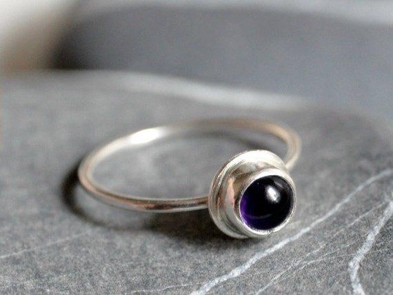 Sterling silver ring - 6mm amethyst cabochon - Size 6.5 - other sizes MADE TO ORDER