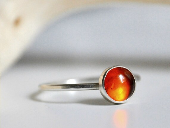 Sterling silver ring - stacking ring with 6mm amber cabochon - MADE TO ORDER