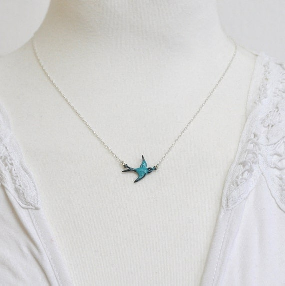 Little teal sparrow - Sterling silver Necklace