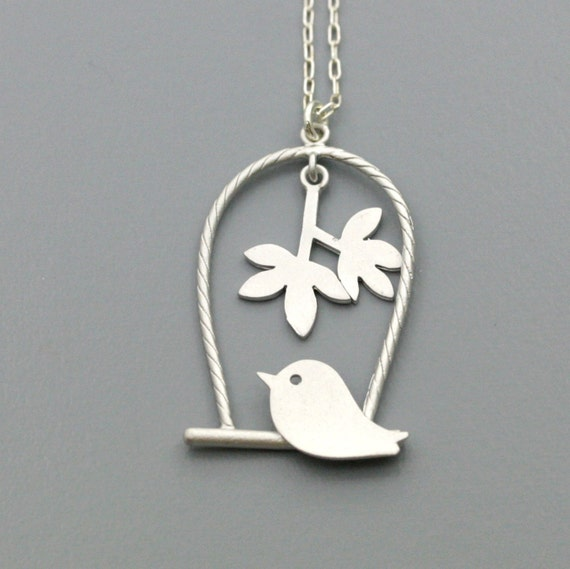 Matte Silver Plated Bird on The Swing - Sterling Silver chain