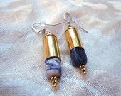 Sodalite Bullet Shell Earrings