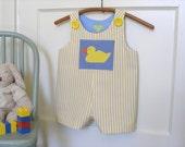 Toddler Boy's Yellow Duck Applique Long or Short Romper