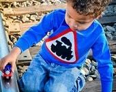 Boy's Caution Train Applique T-Shirt