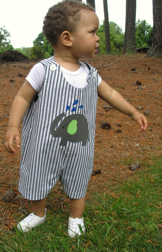 Gray Stripe Romper with Elephant Applique
