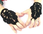 Crochet Fingerless  Gloves -Wedding Bridal Cuff Bracelet Steampunk Lace fingerless gloves Wedding  Bride  Bridesmaide   Hippie