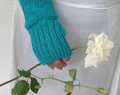 Hand Knit knitted Gloves mittens Cable Knit Fingerless Gloves in  Turquoise   Blue   Women  Fall Autun Fashion  Winter Accessories   winter
