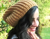 Hand Knit Hat-Zissou Winter hat- Womens Hat - Slouchy chunky knit hat  Beanie in bamboo color - Slouchy Beanie  -   winter fashion