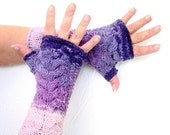 Hand Knit Fingerless Gloves - holiday accessories -Cable Knit Fingerless Gloves - pink purple women winter accessories - winter mit