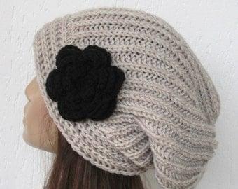 Hand Knit Hat  Women  hat Boho Hat  chunky knit Slouchy Hat   Women   Accessories  beige Handmade   hat  with  black flower Women Fashion