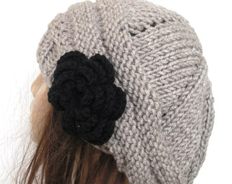 Hand Knit Hat - Womens hat -  chunky knit Beehive beret in beige with black  flower- Tam   Winter  Christmas Accessories Fall Autumn Fashion