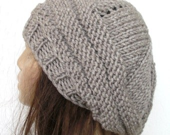 Thick Knit Hat  Winter hat oversized knitting  Beehive beret beige  womens Slouchy  Beanie  Winter Accessories Knit Accessories gift for her