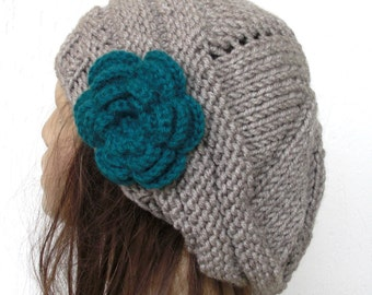 Thick Hand Knit Hat chunky knit  beret in linen  with teal   flower- womens Slouch Beanie Fall  winter Fashion Accessories women accessories