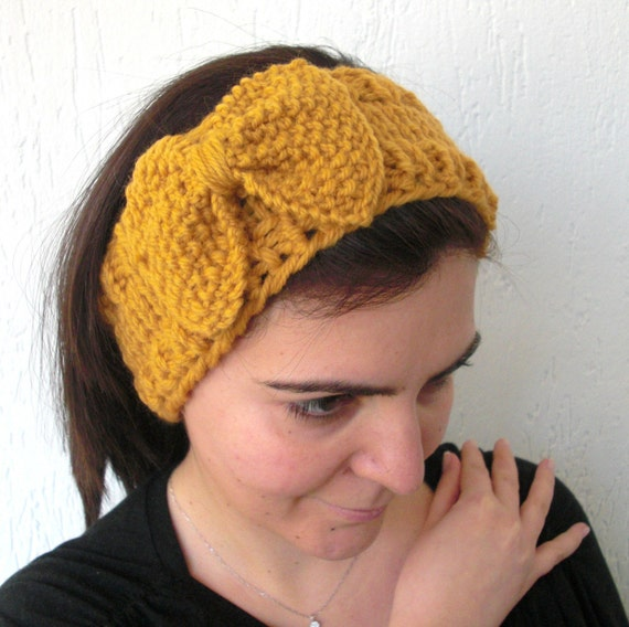 Knitted Headband With Bow Pattern : Instantdownload Pattern Digital Headband Knitting by Ebruk