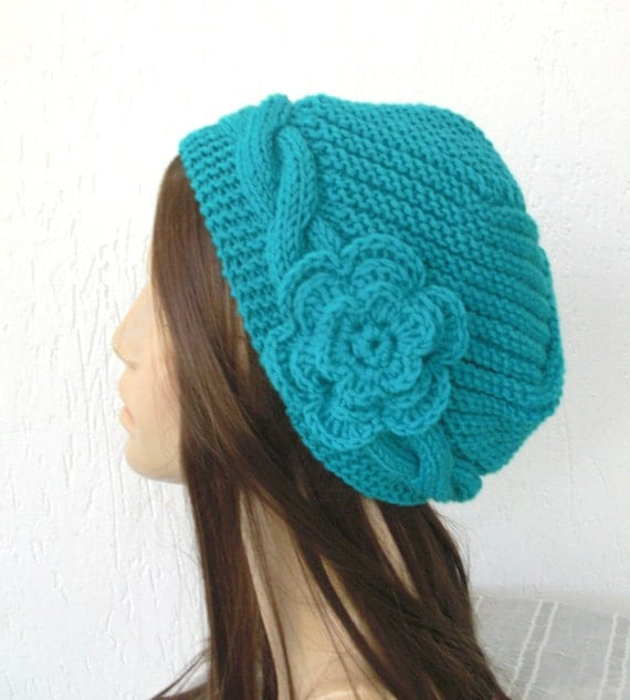 Hand Knit  hat-  Slouchy Beanie Victorian  Hat  Cloche  Winter Accessories  Turquoise blue  womens hat  Autumn Fashion   gift