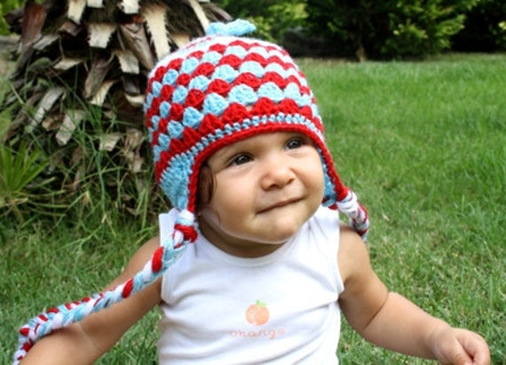 Hand crochet baby hat-  Colorblock  Earflap hat in red blue white - For girls & boys   Autumn - Crochet Hat- 6-12 Months accessories baby