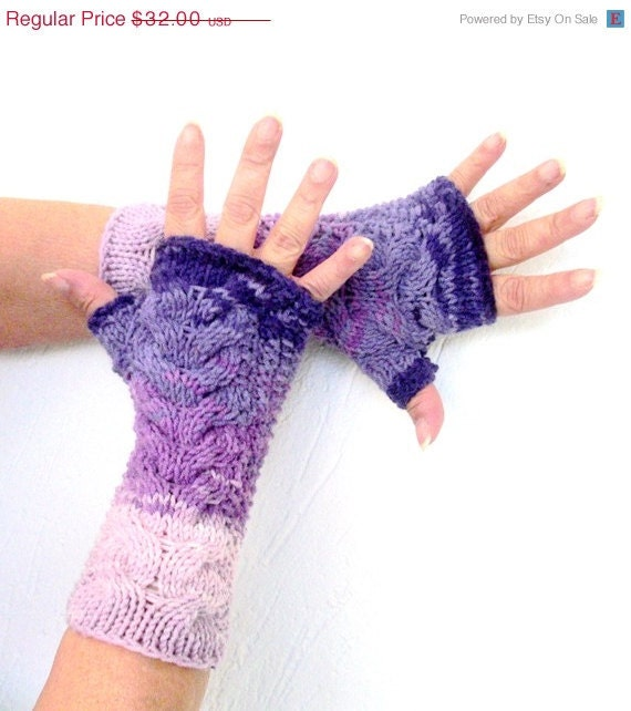 Hand Knit Fingerless Gloves - holiday accessories -Cable Knit Fingerless Gloves - pink purple women winter accessories - winter mit