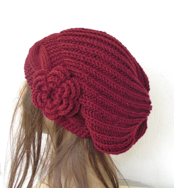 Slouchy Beanie Womens hat chunky Burgundy knit Slouchy Hat Crochet Flower mothers day from daughter - mom gift - mothers day from son
