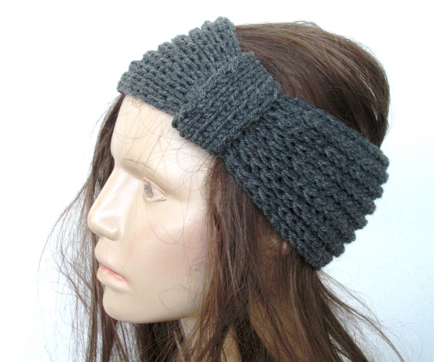 Knitted Head Scarf Pattern : Womens Knit Boho Headband ear warmer head wrap Turban
