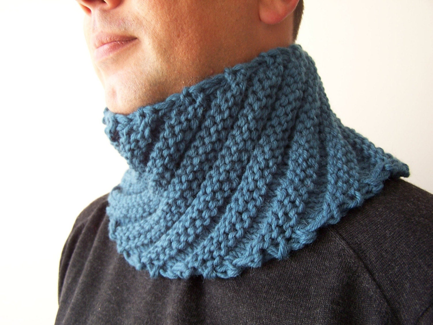 knit blue cowl scarf for fall scarf menswear