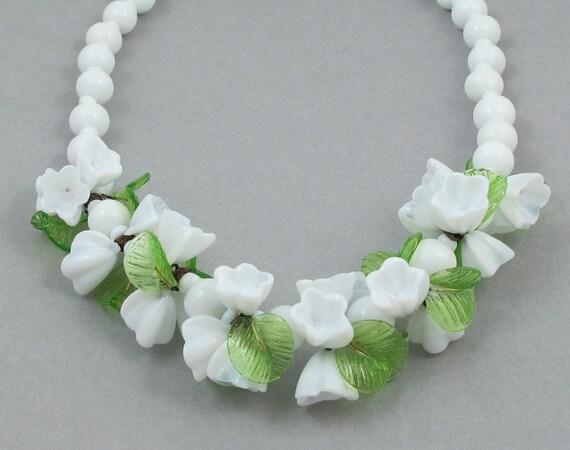 Vintage Venetian Blown Glass Flower Necklace/Choker