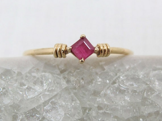 Petite 14K Gold Ruby Ring