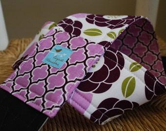 Camera Strap Reversible Lens Cap Pocket Lilac and Plum Floral