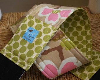 Camera Strap, Modern Meadow, Pink Tan and Lime, Reversible, Built-in Lens Cap Pocket