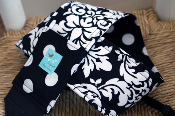 Camera Strap Black and White Damask and Dot Reversible Lens Cap Pocket