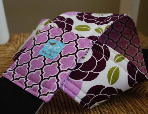 Camera Strap Reversible Lens Cap Pocket Lilac and Plum Floral