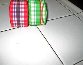 Ribbon, vintage plaids, 10 yards each two for one price 1940's
