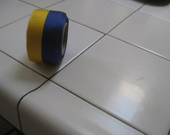 Ribbon, vintage grosgrain, yellow and navy two tone, 1960's fabric content is rayon