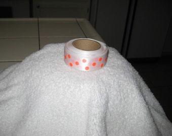 Ribbon, white with bright polka dots 1960s
