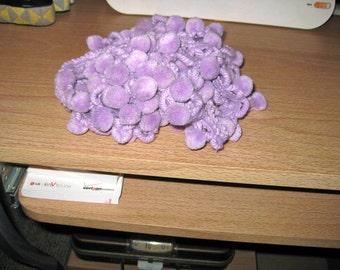 Trim, ball fringe, pale purple 1940's cotton