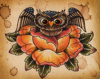 Rosie, the Rose-dwelling Owl (8x10 print)