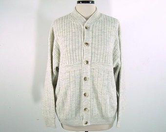80s Vintage Cardigan Sweater Oversize Slouchy Rib Knit Wool Blend Heather Grey