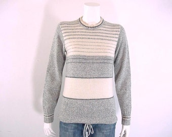 70s Vintage Pullover Sweater Drawstring Hem Gray and White - Extra Small to Small