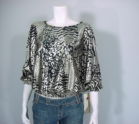Vintage 1980s Liquid Silver Animal Print Cropped Bat Wing Blouse (m-l)